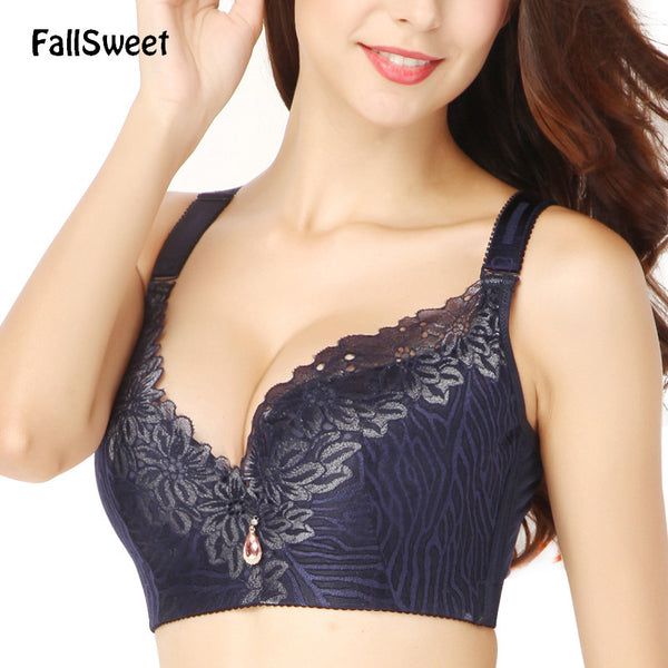 FallSweet D E cup Lace Push Up bra for Plus Size Women 44 46 48 50 Women Large Cup Bras Brassiere-Women's Bras-Enso Store-Black-D-40-Enso Store