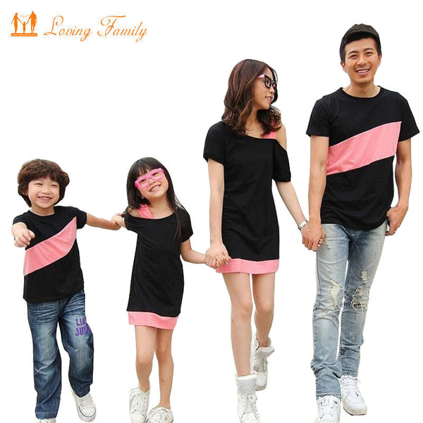48d5bb52 Family Look Clothing Special Shoulder For Mother Daughter Dresses Family  Matching Outfits T-shirt for Father Son Family Clothes