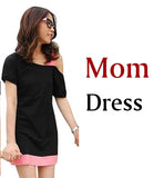 Family Look Clothing Special Shoulder For Mother Daughter Dresses Family Matching Outfits T-shirt for Father Son Family Clothes-Family Matching Outfits-Enso Store-mom dress BLACK-XXL-Enso Store