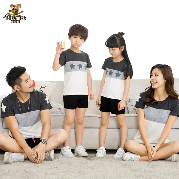 Family Matching Clothes 2017 Summer style Short-sleeve Star T-shirt For Mother Daughter And Father Son Clothes Family Look-Family Matching Outfits-Enso Store-Kid 2T-Enso Store