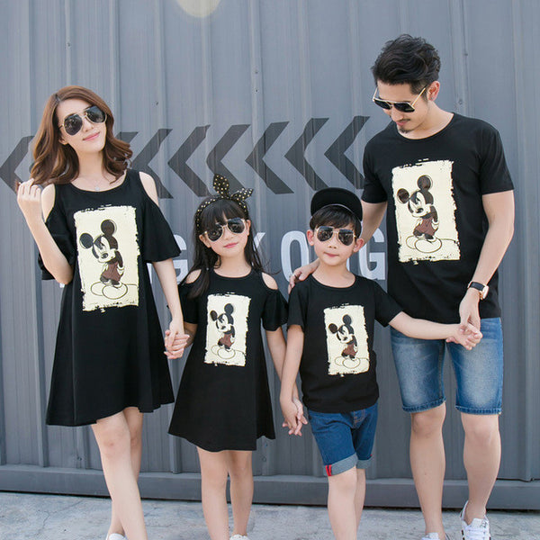 1c3d472d7e Family matching clothes for summer korean style mother and daughter dress  cartoon mouse boys T-