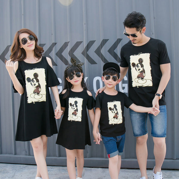 Family matching clothes for summer korean style mother and daughter dress cartoon mouse boys T-shirt short sleeve family clothes-Family Matching Outfits-Enso Store-Black with mouse-Boy 90cm 2T-Enso Store