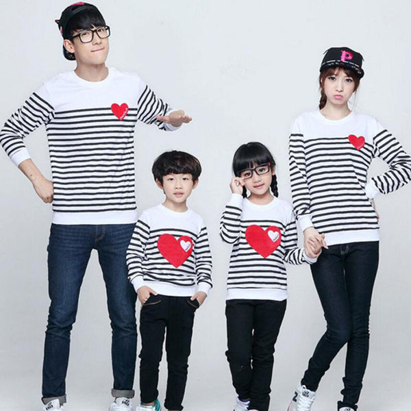 family matching clothes Spring Autumn family clothing sets long sleeve love Stripe father daughter baby girl boy clothes-Family Matching Outfits-Enso Store-child 2T-Enso Store