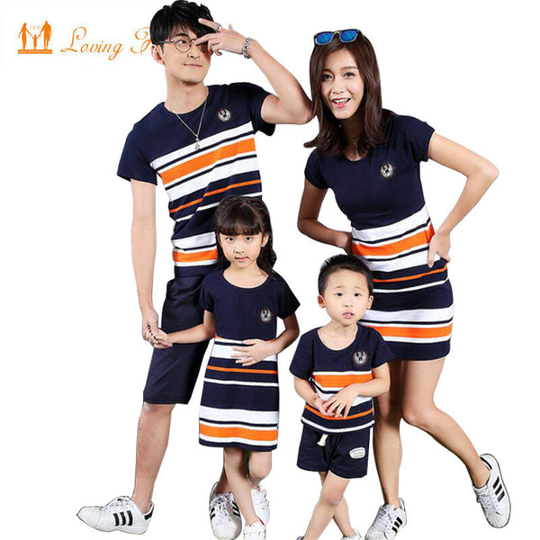 Family Matching Clothing Fashion Look Striped Summer T-shirt Outfits Mother And Daughter Dresses And Father Son Baby Boy Girl-Family Matching Outfits-Enso Store-boy T shirt-M-Enso Store