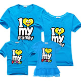 Family Matching Outfits for father mother & Kids summer t-shirt cotton baby daughter dresses boy clothes families dad and son-Family Matching Outfits-Enso Store-blue-Female 160cm-Enso Store