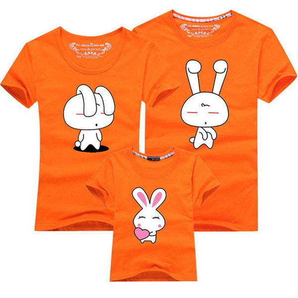 Family Matching Outfits Look Mom and Daughter Mother Father Son Clothes Cartoon Bunny Rabbit Tee Tops Summer Baby Kids T-shirt-Family Matching Outfits-Enso Store-as picture 7-mom S-Enso Store
