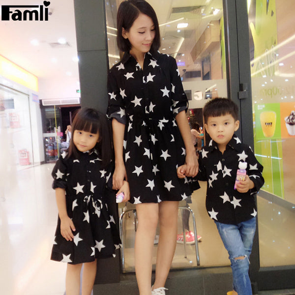 Famli 1pc Mom Son Dress Shirts Family Fashion Mother Daughter Dad Kid Matching Spring Autumn Full Sleeve Printed Dresses Outfits-Family Matching Outfits-Enso Store-Mom Dress S-Enso Store