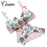 Famous Brand Sexy High Quality Women Print Bra set Silk Lace Flower Push up Big size Underwear Bow Bra and Hollow out Panties-Women's Bras and Brief Set-Enso Store-Beige-A-32-Enso Store