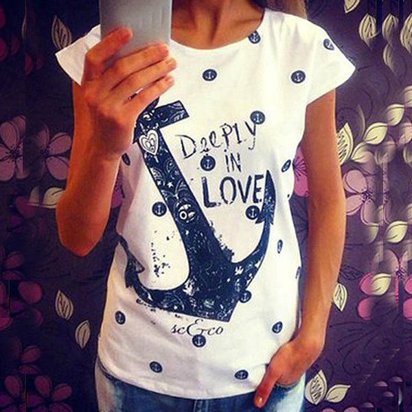 fdfed71a Fashion 2017 Women's Summer Style T Shirts Letter Print Anchor Slim Cotton Casual  Shirts Tops