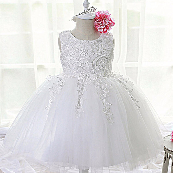 428198c46 Fashion Formal Newborn Wedding Dress Baby Girl Bow Pattern For Toddler 1  Years Birthday Party Baptism ...