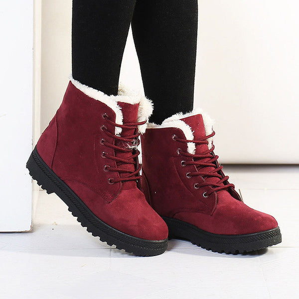 Fashion fur Snow Winter Boots Women Boots heels 2016 Women Ankle Boots Winter Shoes Warm Snow-Women's Shoes-Enso Store-Red-5-Enso Store
