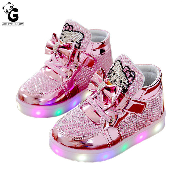 Christmas Boots For Girls.Fashion Led Girls Shoes Baby Shoes Kids Light Up Glowing Sneakers Little Girl Princess Children Shoes Christmas Girl Boots