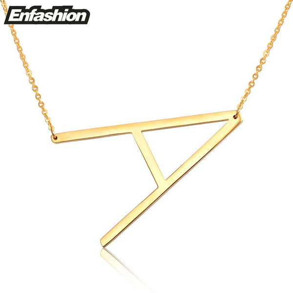 Fashion Letter Necklaces Pendants Alfabet Initial Necklace Gold ColorStainless Steel Choker Necklace Women Jewelry Kolye Collier-Necklaces & Pendants-Enso Store-A-Enso Store