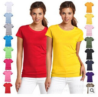 Fashion pure cotton short sleeved women's T-shirt bottoming t shirt women candy colors female t-shirts top tee shirt 17 colors - EnsoStore