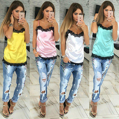 Fashion sexy Women solid camis Summer Casual lace patchwork Vest Top Sleeveless Tank Tops T-Shirt 2016 new fashion-Enso Store-White-S-Enso Store