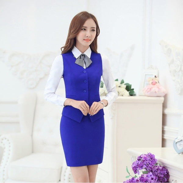 Fashion Women Business Suits with Skirt and Vest Waistcoat Sets Slim Female Work Wear Clothes Ladies Office Uniform Style OL-Enso Store-Blue-S-Enso Store