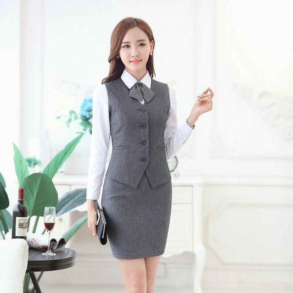Fashion Women Business Suits with Skirt and Vest Waistcoat Sets Slim Female  Work Wear Clothes Ladies Office Uniform Style OL 824ec984d