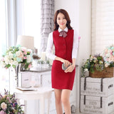Fashion Women Business Suits with Skirt and Vest Waistcoat Sets Slim Female Work Wear Clothes Ladies Office Uniform Style OL-Enso Store-Red-S-Enso Store