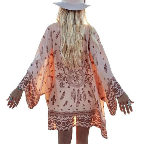 Fashion Women Summer Chiffon Blouse Beach Boho Kimono Cardigan Floral Printed Long Sleeve Casual Loose Long Beach Cover up-Women's Blouses-Enso Store-Pink-L-Enso Store