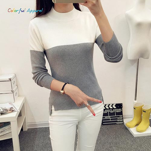 FATIKA Fashion Women Long Sleeve Turtleneck Pullover Sweaters Pullover Female Lover Pull Femme Winter Sweaters-Enso Store-grey-One Size-Enso Store