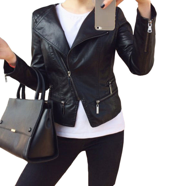 Faux Soft Leather Jackets HOT 2017 New Fashion Autumn Winter Women Pu Black Blazer Zippers Coat Motorcycle Outerwear pimkie-Enso Store-Black-M-Enso Store