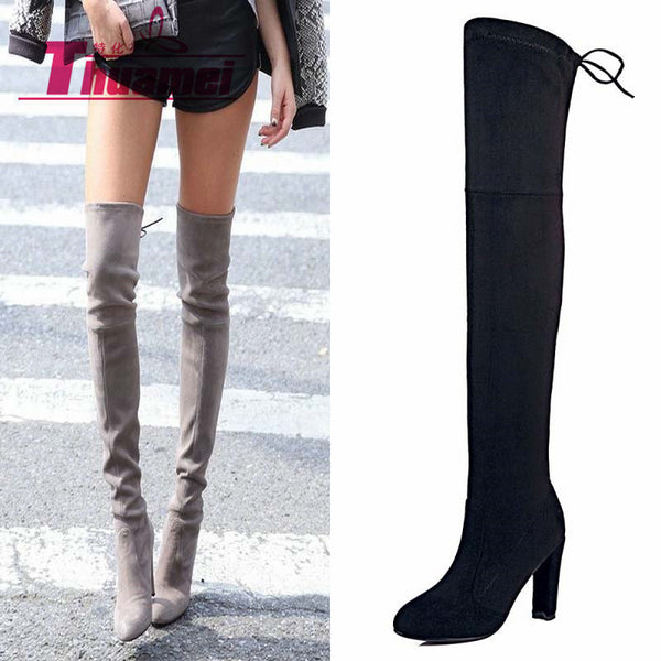 aef28acc06494 Faux Suede Slim Boots Sexy over the knee high women snow boots women's  fashion winter thigh ...