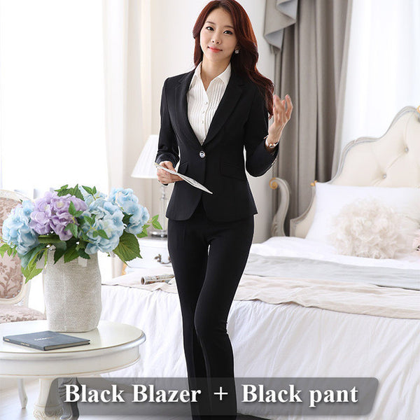 52eeb5f94a Formal Ladies Office OL Uniform Designs Women elegant Dark Business Gray pant  Suits Work Wear Jacket