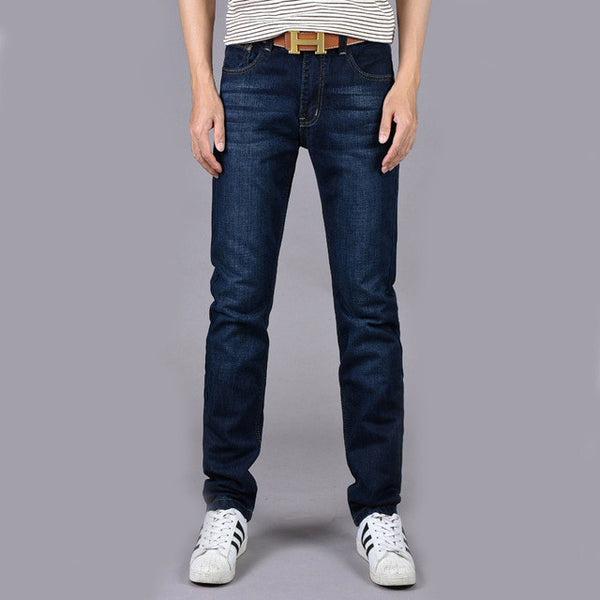 Four Seasons Can Wear Men's Fashion Brand Slim Straight Jeans Waist Young People Straight Slacks Quality Men Jeans-Men's Jeans-Enso Store-Deep Blue-28-Enso Store