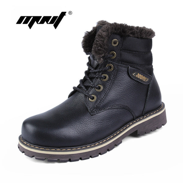 Full grain leather Men Boots Plus Size Super Warm Men Snow Boots Handmade Warm Outdoor Shoes Waterproof Men Winter Shoes-Men's Boots-Enso Store-Black-6-Enso Store