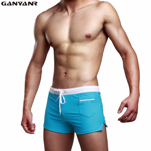 GANYANR Brand Gay Men Swimwear Brief Shorts Swimsuit Swimming Trunks Male Swim Surf Bathing Suit Sexy Pouch 2017 Low Waist Sunga - EnsoStore