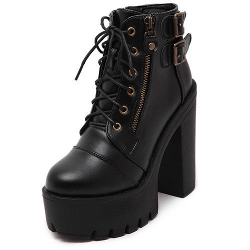 Gdgydh Hot Sale Russian Shoes Black Platform Martin Boots Women Zipper Spring High Heels Shoes Lace Up Ankle Boots Size 35-39-Women's Boots-Enso Store-black-4.5-Enso Store