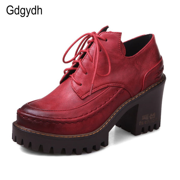 Gdgydh Spring British Style Female Single Shoes Round Toe Platform Casual Women Shoes Two-piece Lacing Large Size Shoes-Women's Pumps-Enso Store-brown-4-Enso Store