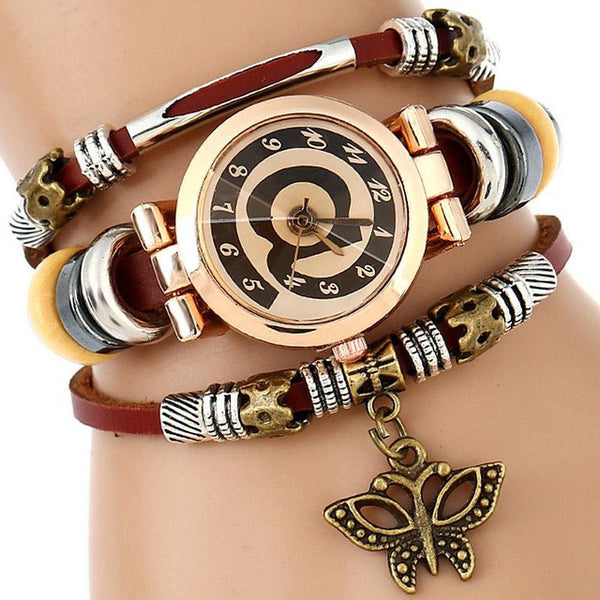 wristwatch butterfly genuine triple fashion watch bracelet charm premium top com watches platinum leather women genova dp amazon