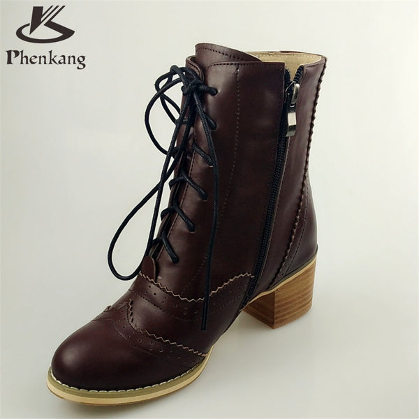 Genuine leather fashion normic british style vintage boots handmade carved martin boots female boots with lacing side zipper fur-Women's Boots-Enso Store-brown-4.5-Enso Store
