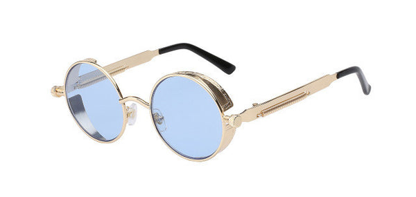Gothic Steampunk Mens Sunglasses Coating Mirrored Sunglasses Round Circle Sun glasses Retro Vintage Gafas Masculino Sol-Men's Accessories-Enso Store-Gold w sea blue-Enso Store