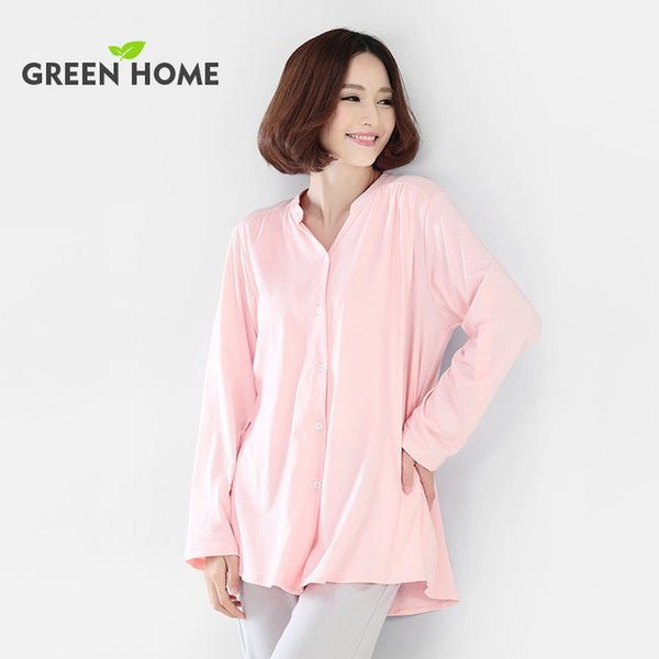 Green Home Thick Cotton Plain Color long Sleeve Pajamas Suit With breast feeding Opening Design for pregnant woman winter-Maternity-Enso Store-Pink-L-Enso Store