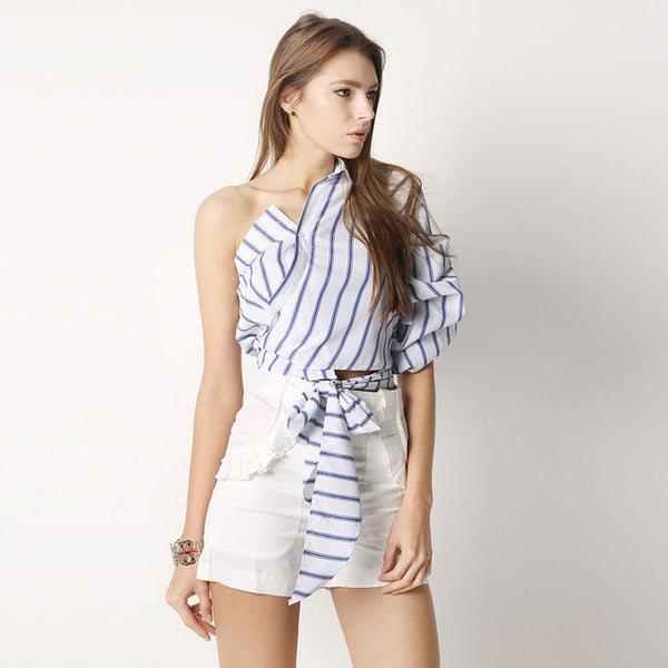 HDY Haoduoyi Striped Women Blouses One Shoulder V-neck Half Puff Sleeve Casual Shirts Women Bow Ruffle Tie Waist Slim Tops - EnsoStore