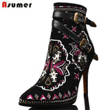 High Quality 2016 Autumn Winter Women Buckle ankle boots high heels Genuine leather motorcycle boots Ethnic flower lady shoes-Women's Boots-Enso Store-Black-4-Enso Store