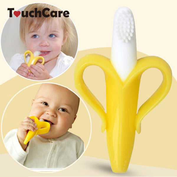 High Quality And Environmentally Safe Baby Teether Teething Ring Banana Silicone Toothbrush-Baby Care-Enso Store-white-Enso Store