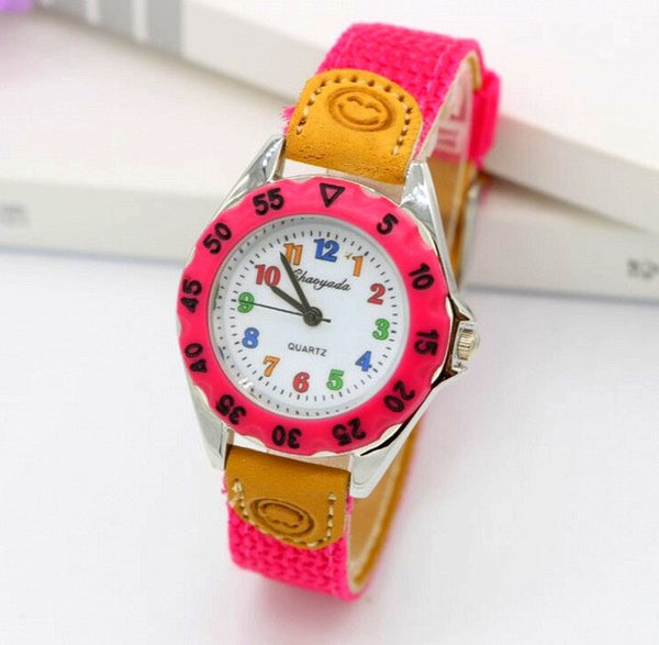 High Quality Blue Boy Black Watch Girl Kids Children's Gift Fabric Strap Learn Time Tutor Student Wristwatch 1486 - EnsoStore