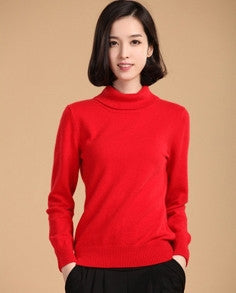 High quality pure cashmere sweater pullover high collar turtleneck sweater women solid color women's basic sweater-Enso Store-red-S-Enso Store
