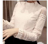 High Quality Spring Autumn Women's Shirts Long-sleeved Blouses Slim Basic Tops Hollow Lace Shirts For Female J2531-Women's Blouses-Enso Store-White-S-Enso Store