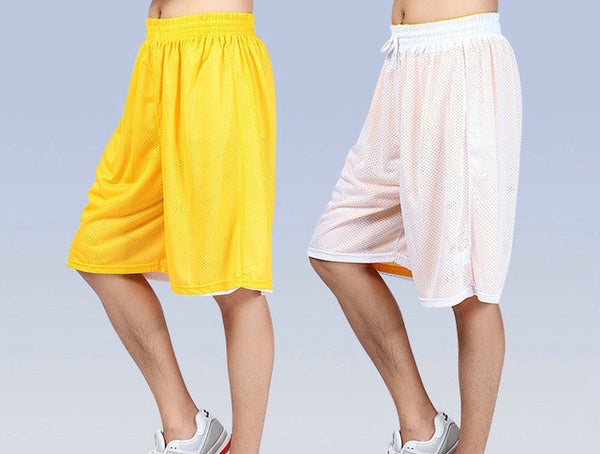 Hot High Quality Reversible Casual Shorts Men Summer Double-Way Breathable Sportings Beach Shorts-Men's Shorts-Enso Store-yellow white-XL-Enso Store