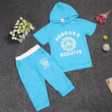 Hot New 2017 summer girls boys letter print children clothing set baby clothes short-sleeve T-shirt hoodies pant kids sport suit-Girls Clothing-Enso Store-blue circular-2T-Enso Store