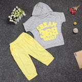 Hot New 2017 summer girls boys letter print children clothing set baby clothes short-sleeve T-shirt hoodies pant kids sport suit-Girls Clothing-Enso Store-grey369-2T-Enso Store