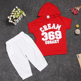 Hot New 2017 summer girls boys letter print children clothing set baby clothes short-sleeve T-shirt hoodies pant kids sport suit-Girls Clothing-Enso Store-red369-2T-Enso Store