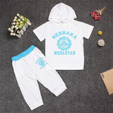 Hot New 2017 summer girls boys letter print children clothing set baby clothes short-sleeve T-shirt hoodies pant kids sport suit-Girls Clothing-Enso Store-white circular-2T-Enso Store