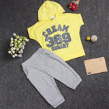 Hot New 2017 summer girls boys letter print children clothing set baby clothes short-sleeve T-shirt hoodies pant kids sport suit-Girls Clothing-Enso Store-yellow369-2T-Enso Store