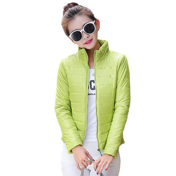 hot sale 2016 new women's jacket to keep warm in winter padded silk, ladies fashion casual Slim padded winter jacket-Enso Store-Aqua-L-Enso Store
