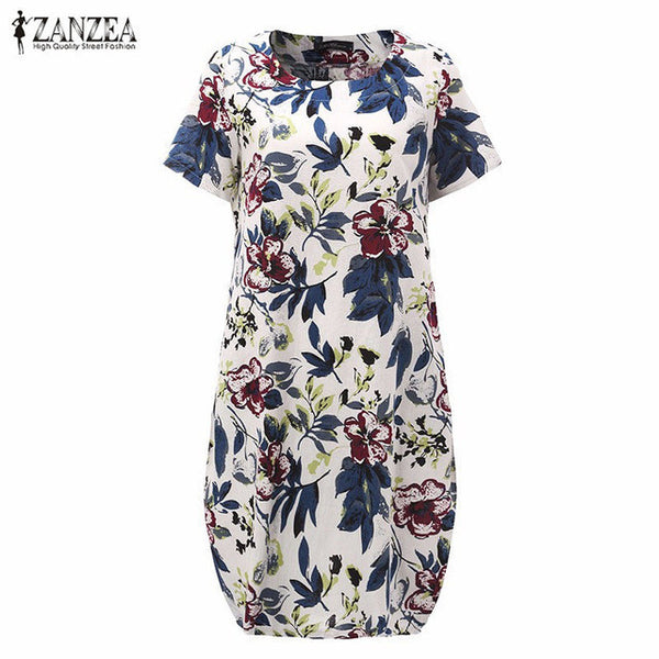 Hot Sale 2017 Summr ZANZEA Women Vintage Floral Print Dress Short Sleeve Loose Casual Midi Sexy Dress Vestidos Plus Size-Women's Dresses-EnsoStore-Floral-S-Enso Store